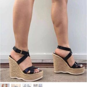 🔥🔥YSL Patton leather strapped wedge espadrille